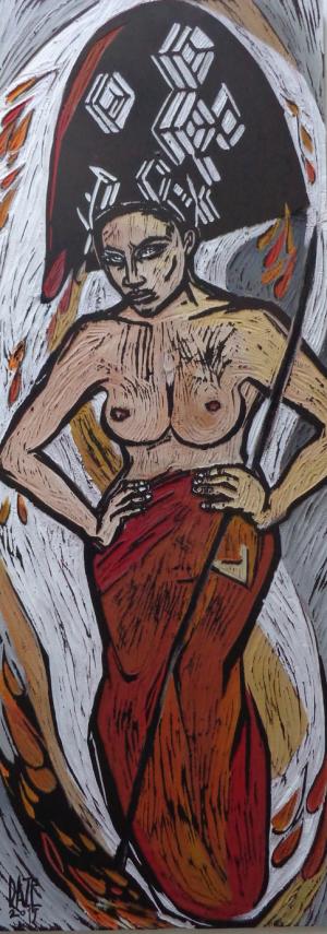 bemalter Druckstock,         91cm x 34 cm